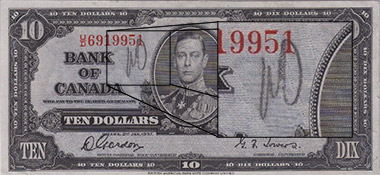 10 dollars 1937 - Graffiti - Bank of Canada