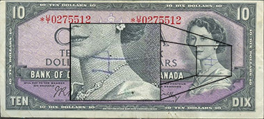 10 dollars 1954 - Graffiti - Bank of Canada