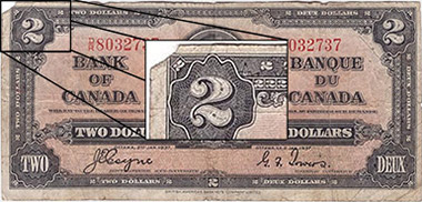 2 dollars 1937 - Corner tear - Bank of Canada