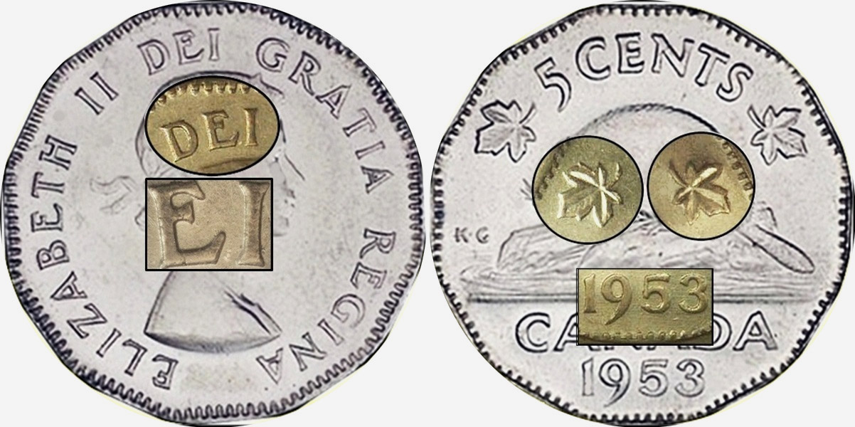 5 cents 1953 - NSF - Far Leaf