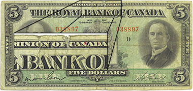 5 dollars 1933 - The Royal Bank of Canada - Tears