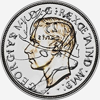 George VI (1937 to 1947) - Obverse - Die clash
