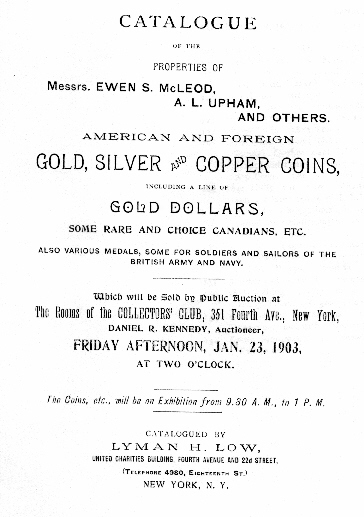 Catalogue of the Messrs. Ewen McLeod, A.L. Upham and Others