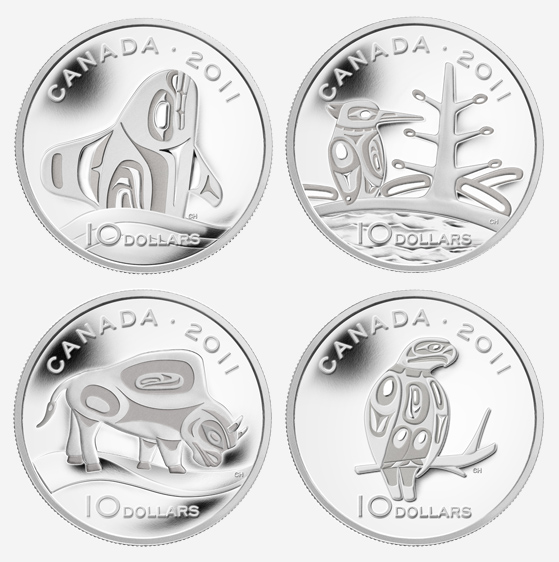 2011 $10 FINE SILVER COINS: THE CANADIAN BOREAL FOREST; WOOD BISON; ORCA; AND PEREGRINE FALCON