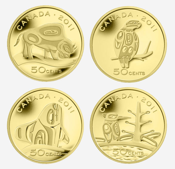 2011 50-CENT FINE GOLD COINS: THE CANADIAN BOREAL FOREST; WOOD BISON; ORCA; AND PEREGRINE FALCON