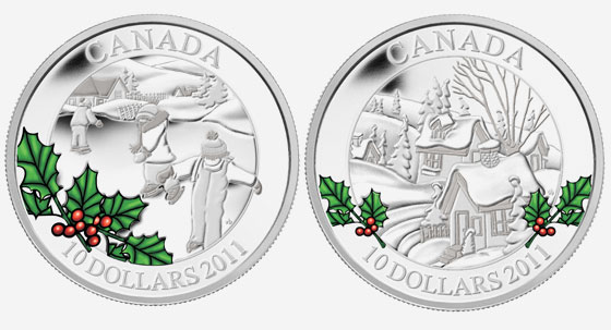 2011 $10 FINE SILVER COIN � WINTERTOWN AND LITTLE SKATERS