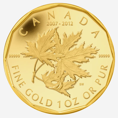 2012 NUMISMATIC GOLD MAPLE LEAF SET- 5TH ANNIVERSARY OF THE ROYAL CANADIAN MINT'S MILLION DOLLAR COIN