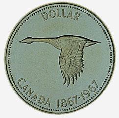 Canada, $1 coin, 1967, reverse