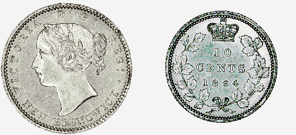 New Brunswick: 10-Cent Piece, 1864