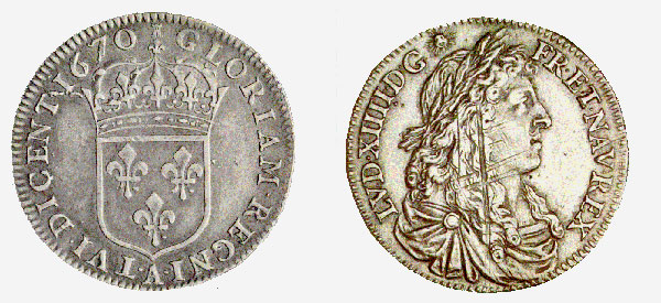 New France, Louis XIV, 15 Sols, 1670