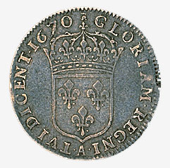 New France, Louis XIV, 15 sols, 1670, reverse