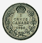 Dominion of Canada, 5 cents, 1908