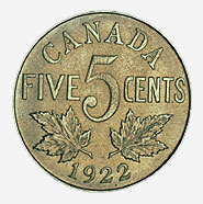 Dominion of Canada, 5 cents, 1922, reverse
