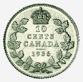 Silver Dot Ten-Cent Piece, 1936
