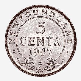 Newfoundland: 5 Cents, 1947