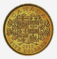 Dominion of Canada, $5 gold coin, 1912, reverse