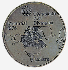 Canada, $5 Olympic coin, 1976, series 1, reverse