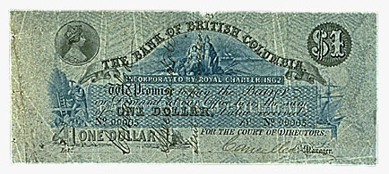 Bank of British Columbia, $1, 18--