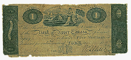 Bank of Upper Canada, $1, 1823