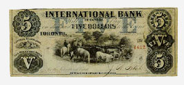 The International Bank, five dollars 1858