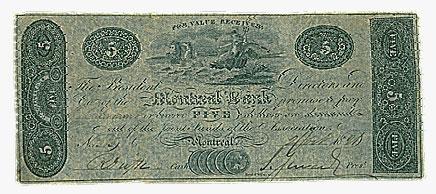 Montreal Bank, $5, 1821