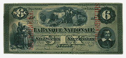 La Banque Nationale, $6, 1870