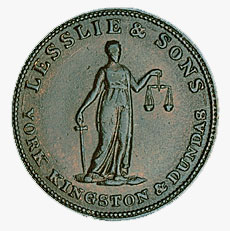 Half-penny token, 1822, issued by Lesslie & Co.