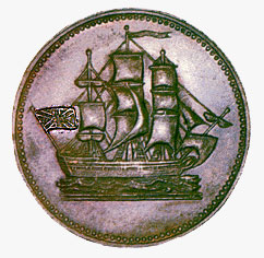 Copper Halfpenny Token, 1830-1860