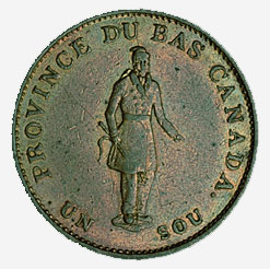 Halfpenny, 1-sou token, Lower Canada, 1837