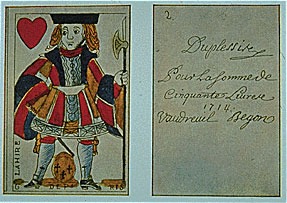 New France, playing card money, 1714