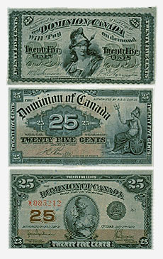 Dominion of Canada, three 25-cent shinplasters, 1870, 1900, 1923