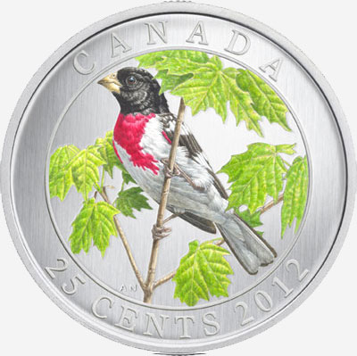 2012 25-CENT COLOURED COIN� ROSE-BREASTED GROSBEAK