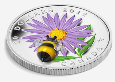 2012 $20 FINE SILVER COIN � ASTER WITH GLASS BUMBLE BEE