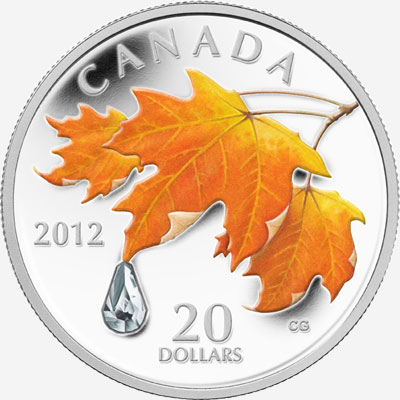 2012 $20 FINE SILVER COIN � MAPLE LEAF CRYSTAL RAINDROP