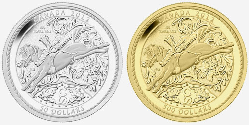 2012 $500 PURE GOLD AND $50 FINE SILVER COINS - 100 YEARS OF THE CALGARY STAMPEDE 2012