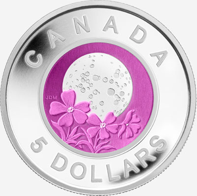 2012 $5 NIOBIUM AND STERLING SILVER COIN MOONS OF THE ALGONQUIN: FULL PINK MOON