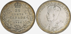 25 cents 1936 Dot - Canada