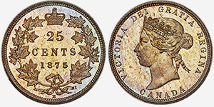 25 cents 1875H - Canada