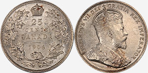 25 cents 1906 Small Crown - Canada