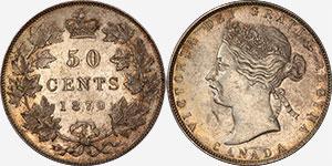 50 cents 1870 No L.C.W. - Canada