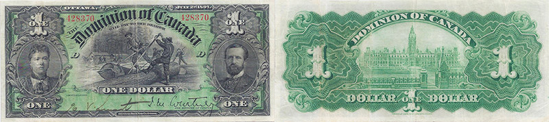 1 dollar 1897 values and prices - Dominion of Canada banknote