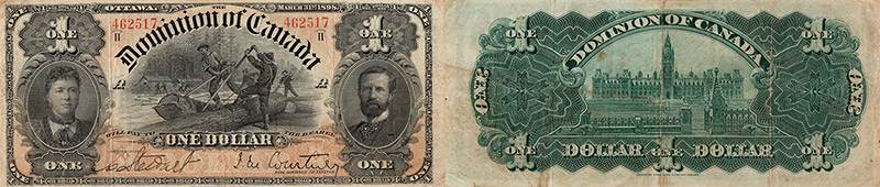 1 dollar 1898 values and prices - Dominion of Canada banknote