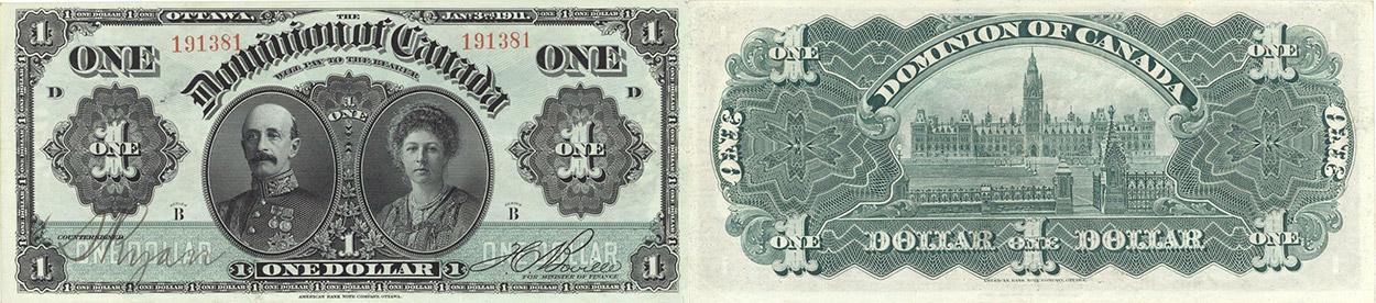 1 dollar 1911 - Dominion of Canada Banknote
