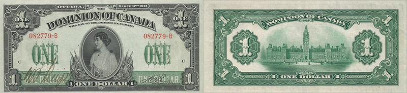 1 dollar 1917 values and prices - Dominion of Canada banknote