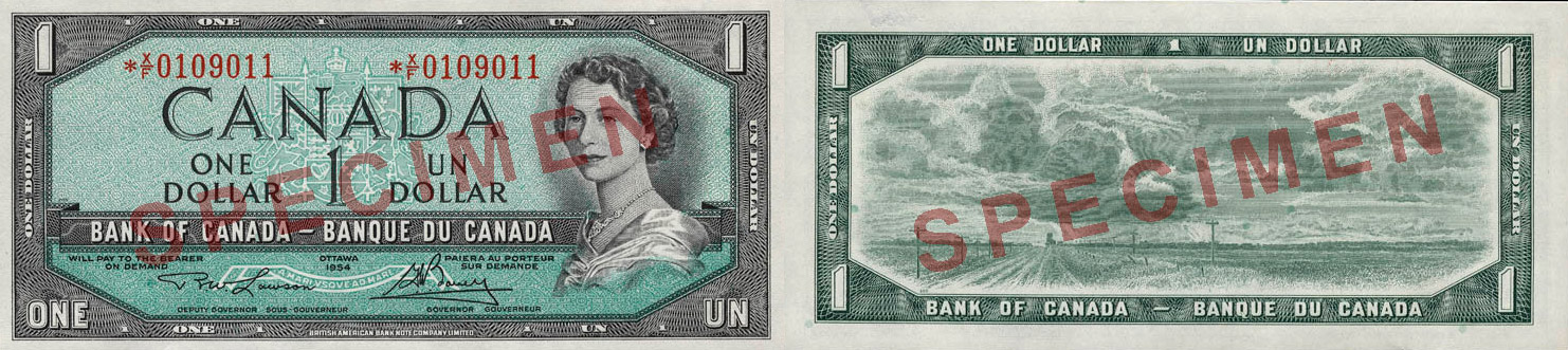 1 dollar - 1954 modified portrait