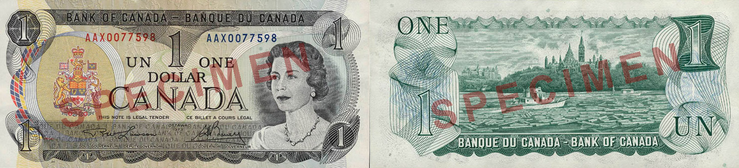 1 dollar 1969 to 1975 - Canada Banknote