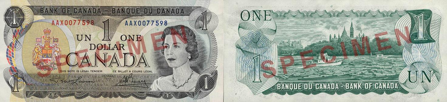 1 dollar 1973 - Scenes of Canada banknotes