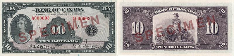 10 dollars 1935 - Canada Banknote