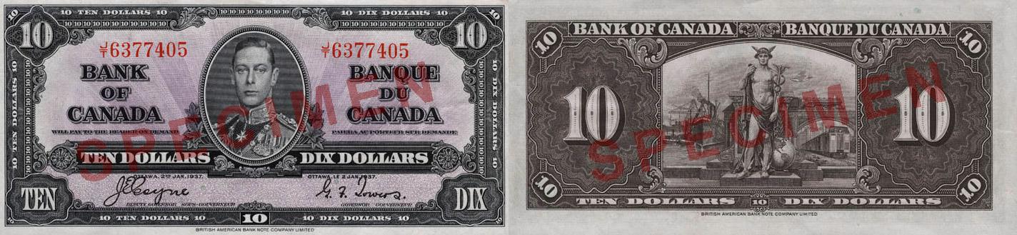 10 dollars 1937 - Canada Banknote