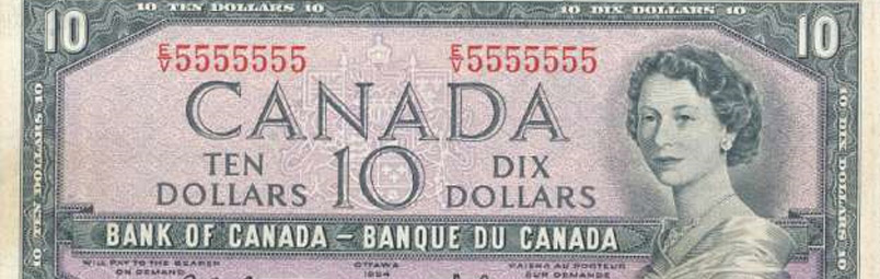 Solid - Special serial number on canadian banknotes